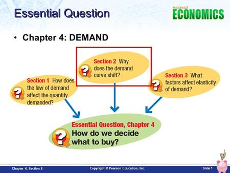 Copyright © Pearson Education, Inc.Slide 1 Chapter 4, Section 2 Essential Question Chapter 4: DEMAND.