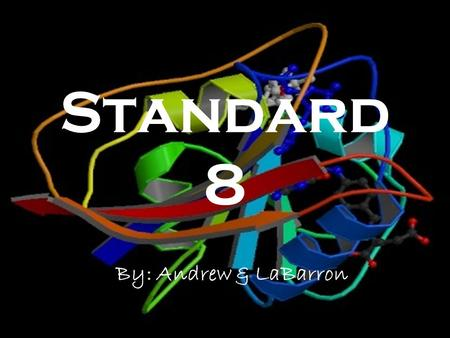 Standard 8 By: Andrew & LaBarron. Protein Basics Proteins are made up of carbon, hydrogen, oxygen, and nitrogen These elements are joined into strands.