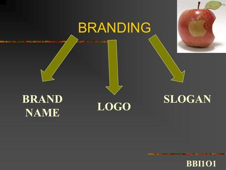 BRANDING BRAND NAME LOGO SLOGAN BBI1O1. Branding 1. Brand Name Definition: A word or group of words that a business uses to distinguish its competitors.