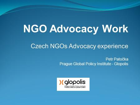 NGO Advocacy Work Czech NGOs Advocacy experience Petr Patočka Prague Global Policy Institute - Glopolis.