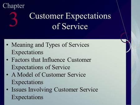 customer expectation of service 2 Four factors that influence the desired and adequate service expectations are as follows: 1 explicit service promises 2 implicit service promises 3.