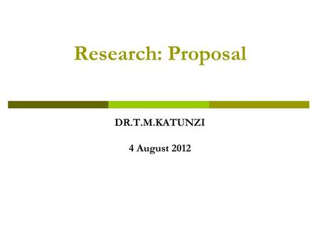 Introduction of research proposal