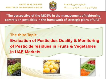 The perspective of the MOEW in the management of tightening controls on pesticides in the framework of strategic plans of UAE The third Topic Evaluation.