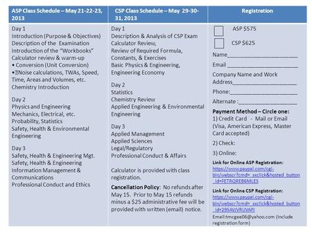 ASP Class Schedule – May 21-22-23, 2013 CSP Class Schedule – May 29-30- 31, 2013 Registration Day 1 Introduction (Purpose & Objectives) Description of.