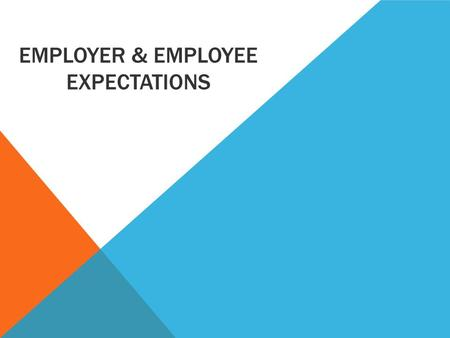 EMPLOYER & EMPLOYEE EXPECTATIONS. LEARNING INTENTIONS Students will be able to: Explain the link between business objectives and HRM strategies & identify.