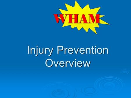Injury Prevention Overview WHAM.  Extent of the injury problem  Science of injury prevention  Ways to help your patients and communities  Resources.