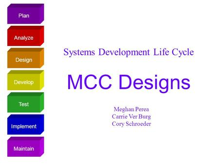 Plan Design Analyze Develop Test Implement Maintain Systems Development Life Cycle MCC Designs Meghan Perea Carrie Ver Burg Cory Schroeder.