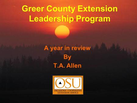 Greer County Extension Leadership Program A year in review By T.A. Allen.