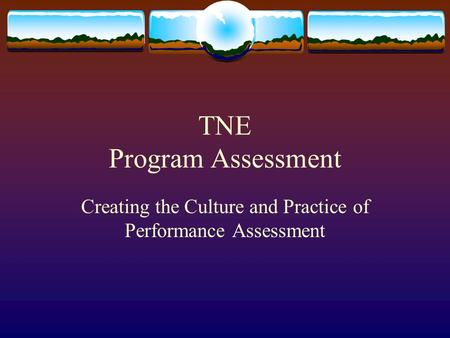 TNE Program Assessment Creating the Culture and Practice of Performance Assessment.