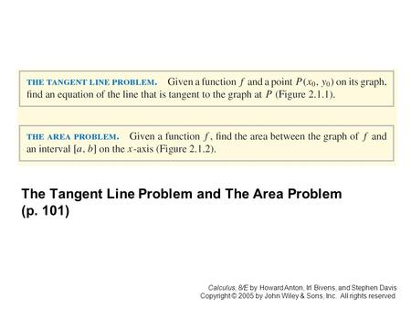 Calculus, 8/E by Howard Anton, Irl Bivens, and Stephen Davis Copyright © 2005 by John Wiley & Sons, Inc. All rights reserved. The Tangent Line Problem.
