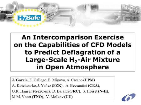 An Intercomparison Exercise on the Capabilities of CFD Models to Predict Deflagration of a Large-Scale H 2 -Air Mixture in Open Atmosphere J. García, E.