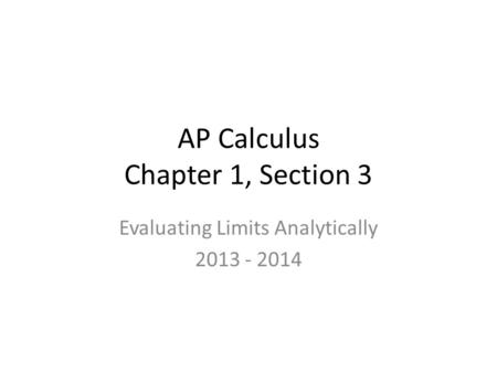 AP Calculus Chapter 1, Section 3