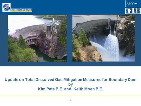 Confidential – ENSR 2008 1 Update on Total Dissolved Gas Mitigation Measures for Boundary Dam by Kim Pate P.E. and Keith Moen P.E.