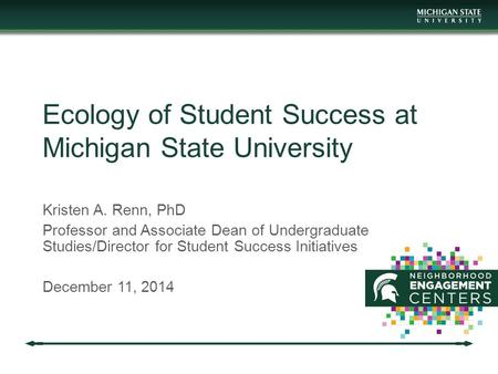 Ecology of Student Success at Michigan State University Kristen A. Renn, PhD Professor and Associate Dean of Undergraduate Studies/Director for Student.