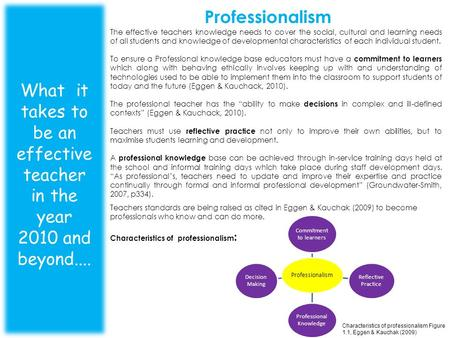 Professionalism What it takes to be an effective teacher in the year 2010 and beyond.... The effective teachers knowledge needs to cover the social, cultural.