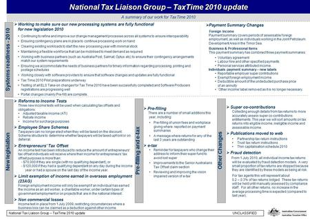 A summary of our work for TaxTime 2010 National Tax Liaison Group – TaxTime 2010 update  Working to make sure our new processing systems are fully functional.