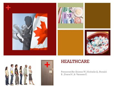 + HEALTHCARE Presented By: Kristen W., Michelle Q., Ronald B., Diana M.,& Vanessa C. +