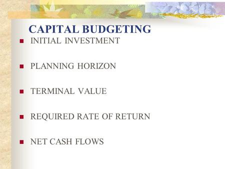 CAPITAL BUDGETING INITIAL INVESTMENT PLANNING HORIZON TERMINAL VALUE REQUIRED RATE OF RETURN NET CASH FLOWS.