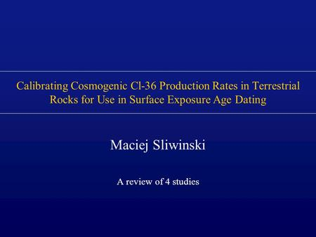 Maciej Sliwinski A review of 4 studies