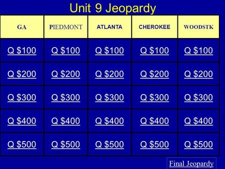 Unit 9 Jeopardy Final Jeopardy GAPIEDMONT ATLANTACHEROKEE WOODSTK Q $100 Q $200 Q $300 Q $400 Q $500.