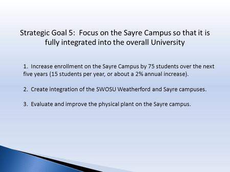 Strategic Goal 5: Focus on the Sayre Campus so that it is fully integrated into the overall University 1. Increase enrollment on the Sayre Campus by 75.
