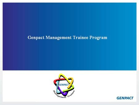 Genpact Management Trainee Program