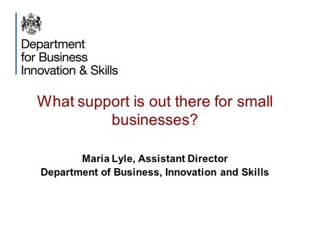What support is out there for small businesses? Maria Lyle, Assistant Director Department of Business, Innovation and Skills.