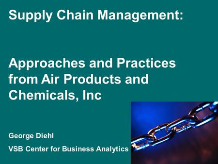 Supply Chain Management: