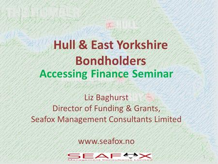 Hull & East Yorkshire Bondholders Accessing Finance Seminar Liz Baghurst Director of Funding & Grants, Seafox Management Consultants Limited www.seafox.no.