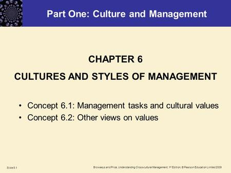 Browaeys and Price, Understanding Cross-cultural Management, 1 st Edition, © Pearson Education Limited 2009 Slide 6.1 Part One: Culture and Management.