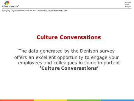 Culture Conversations The data generated by the Denison survey offers an excellent opportunity to engage your employees and colleagues in some important.