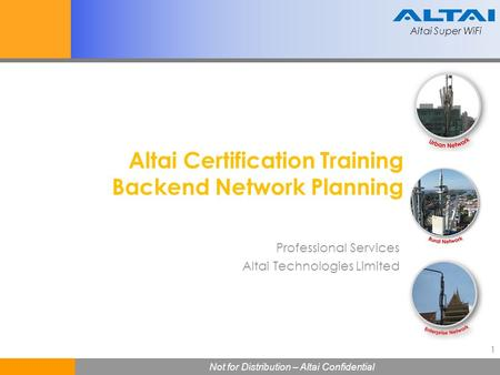 Altai Certification Training Backend Network Planning