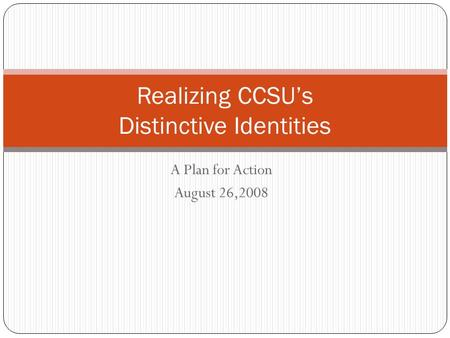 A Plan for Action August 26,2008 Realizing CCSU's Distinctive Identities.