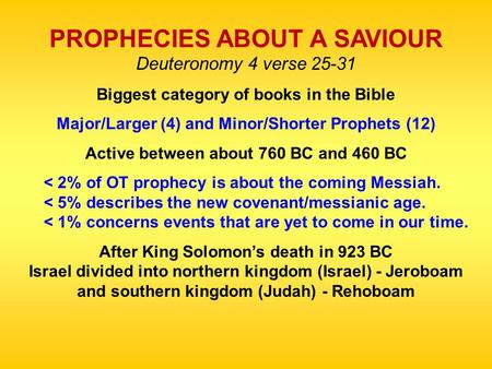 PROPHECIES ABOUT A SAVIOUR Deuteronomy 4 verse 25-31 Biggest category of books in the Bible Major/Larger (4) and Minor/Shorter Prophets (12) Active between.