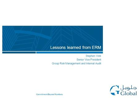 Stephen Vink Senior Vice President Group Risk Management and Internal Audit Lessons learned from ERM.
