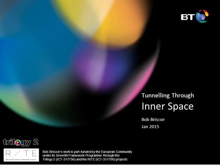 Tunnelling Through Inner Space Bob Briscoe Jan 2015 Bob Briscoe's work is part-funded by the European Community under its Seventh Framework Programme through.