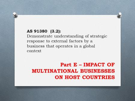 Part E – IMPACT OF MULTINATIONAL BUSINESSES ON HOST COUNTRIES AS 91380 (3.2): Demonstrate understanding of strategic response to external factors by a.