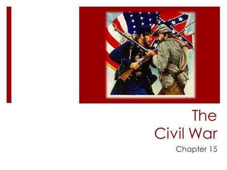 The Civil War Chapter 15. First Shots of the War: 1861  Lincoln maintained control of Federal land in the South, despite secession  Sent troops to Fort.