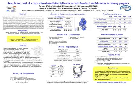 Results and cost of a population-based biennial faecal occult blood colorectal cancer screening program Bernard DENIS, Philippe PERRIN, Jean François VIES,