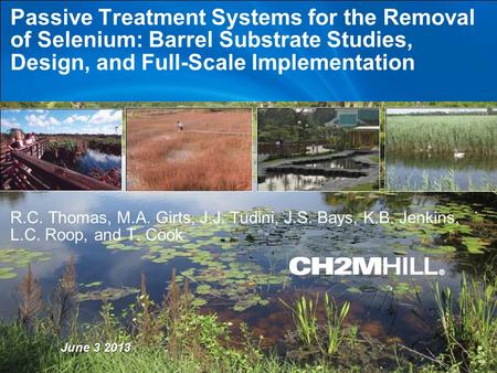 Copyright [insert date set by system] by [CH2M HILL Entity] Company Confidential Passive Treatment Systems for the Removal of Selenium: Barrel Substrate.