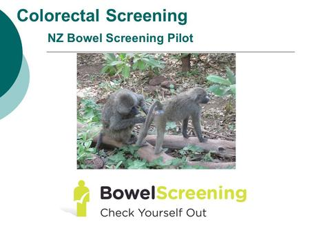 Colorectal Screening NZ Bowel Screening Pilot. WHO Screening criteria  Impt Health condition  Identifiable Latent or early stage  Understand natural.