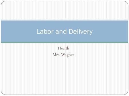 Health Mrs. Wagner Labor and Delivery. It is important for parents to know what to expect during pregnancy, birth and the adjustment period after birth.