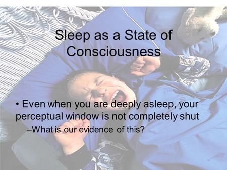 Sleep as a State of Consciousness Even when you are deeply asleep, your perceptual window is not completely shut –What is our evidence of this?