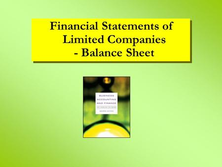 Financial Statements of Limited Companies - Balance Sheet.