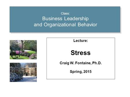 Class: Business Leadership and Organizational Behavior Lecture: Stress Craig W. Fontaine, Ph.D. Spring, 2015.