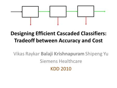 Designing Efficient Cascaded Classifiers: Tradeoff between Accuracy and Cost Vikas Raykar Balaji Krishnapuram Shipeng Yu Siemens Healthcare KDD 2010 TexPoint.