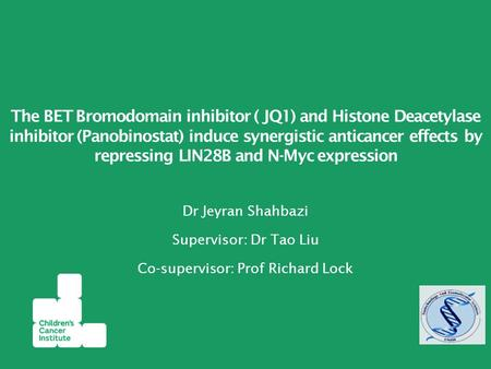 Dr Jeyran Shahbazi Supervisor: Dr Tao Liu Co-supervisor: Prof Richard Lock The BET Bromodomain inhibitor ( JQ1) and Histone Deacetylase inhibitor (Panobinostat)