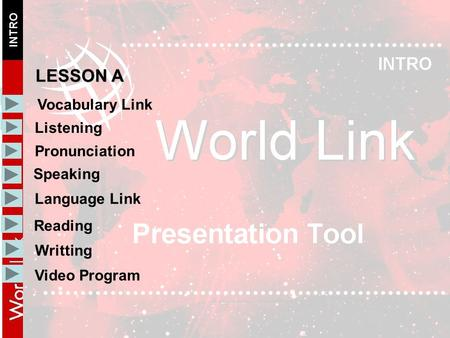 Vocabulary Link Listening Pronunciation Speaking Language Link LESSON A Writting Reading Video Program.