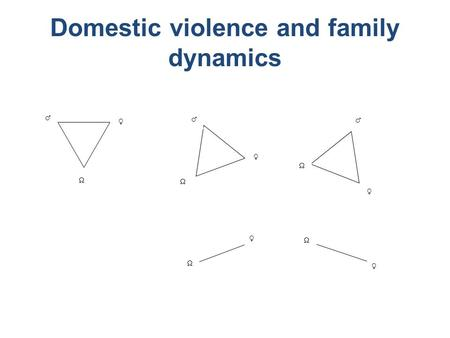Domestic violence and family dynamics  ♀ ♂ ♂ ♀   ♀ ♂  ♀  ♀