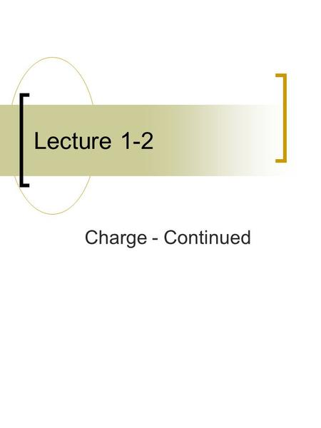 Lecture 1-2 Charge - Continued What's Happ'nin? By now you should have registered on WebAssign and tried the initial assignment. Watch for the appearance.